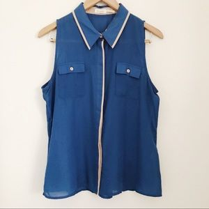 Tops - Sleeveless sheer button up with contrast